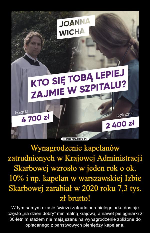 """Wynagrodzenie kapelanów zatrudnionych w Krajowej Administracji Skarbowej wzrosło w jeden rok o ok. 10% i np. kapelan w warszawskiej Izbie Skarbowej zarabiał w 2020 roku 7,3 tys. zł brutto! – W tym samym czasie świeżo zatrudniona pielęgniarka dostaje często """"na dzień dobry"""" minimalną krajową, a nawet pielęgniarki z 30-letnim stażem nie mają szans na wynagrodzenie zbliżone do opłacanego z państwowych pieniędzy kapelana. Kto się tobą lepiej zajmie w szpitalu? ksiądz Pielęgniarka"""