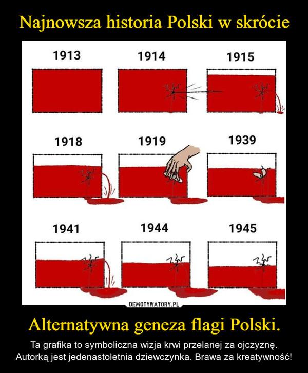 Alternatywna geneza flagi Polski. – Ta grafika to symboliczna wizja krwi przelanej za ojczyznę. Autorką jest jedenastoletnia dziewczynka. Brawa za kreatywność!