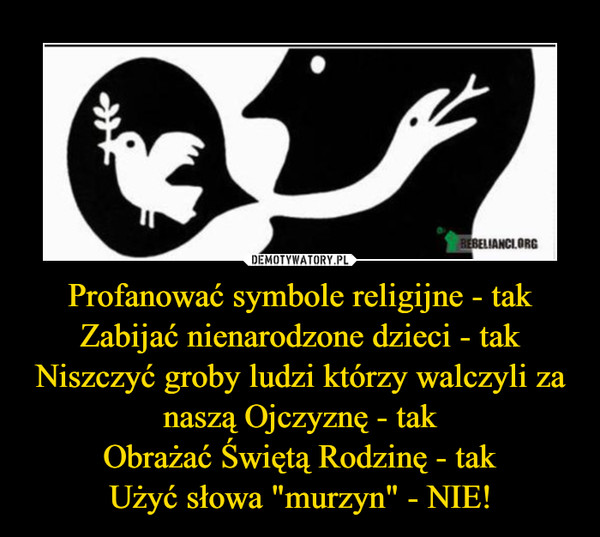 """Profanować symbole religijne - takZabijać nienarodzone dzieci - takNiszczyć groby ludzi którzy walczyli za naszą Ojczyznę - takObrażać Świętą Rodzinę - takUżyć słowa """"murzyn"""" - NIE! –"""
