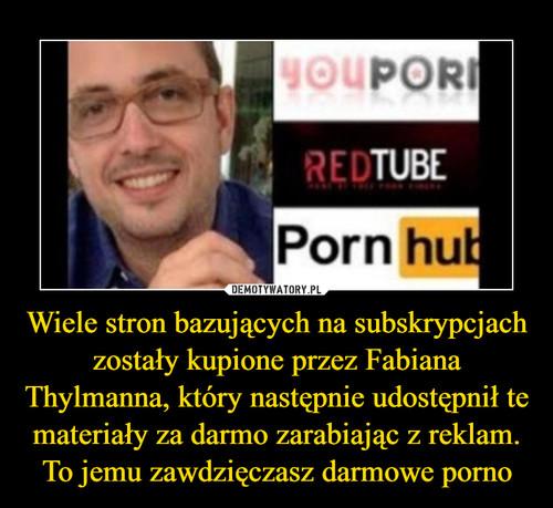 Wiele stron bazujących na subskrypcjach zostały kupione przez Fabiana Thylmanna, który następnie udostępnił te materiały za darmo zarabiając z reklam. To jemu zawdzięczasz darmowe porno