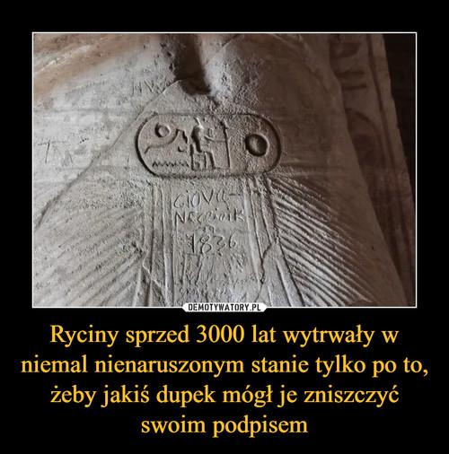Ryciny sprzed 3000 lat wytrwały w niemal nienaruszonym stanie tylko po to, żeby jakiś dupek mógł je zniszczyć swoim podpisem