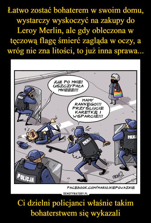 Łatwo zostać bohaterem w swoim domu, wystarczy wyskoczyć na zakupy do Leroy Merlin, ale gdy obleczona w tęczową flagę śmierć zagląda w oczy, a wróg nie zna litości, to już inna sprawa... Ci dzielni policjanci właśnie takim bohaterstwem się wykazali