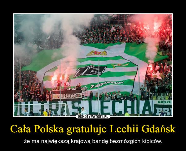 Cała Polska gratuluje Lechii Gdańsk – że ma największą krajową bandę bezmózgich kibiców.