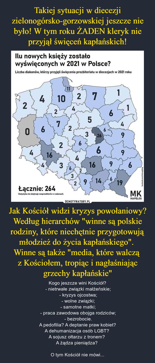 """Jak Kościół widzi kryzys powołaniowy? Według hierarchów """"winne są polskie rodziny, które niechętnie przygotowują młodzież do życia kapłańskiego"""". Winne są także """"media, które walczą z Kościołem, tropiąc i nagłaśniając grzechy kapłańskie"""" – Kogo jeszcze wini Kościół? - nietrwałe związki małżeńskie; - kryzys ojcostwa; - wolne związki; - samotne matki; - praca zawodowa obojga rodziców; - bezrobocie.A pedofilia? A deptanie praw kobiet?A dehumanizacja osób LGBT? A sojusz ołtarzu z tronem? A żądza pieniądza?  O tym Kościół nie mówi..."""