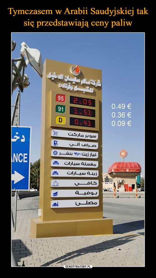 Tymczasem w Arabii Saudyjskiej tak się przedstawiają ceny paliw