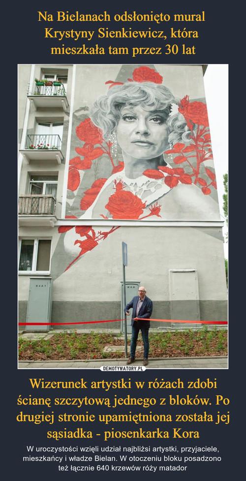 Na Bielanach odsłonięto mural  Krystyny Sienkiewicz, która  mieszkała tam przez 30 lat Wizerunek artystki w różach zdobi ścianę szczytową jednego z bloków. Po drugiej stronie upamiętniona została jej sąsiadka - piosenkarka Kora
