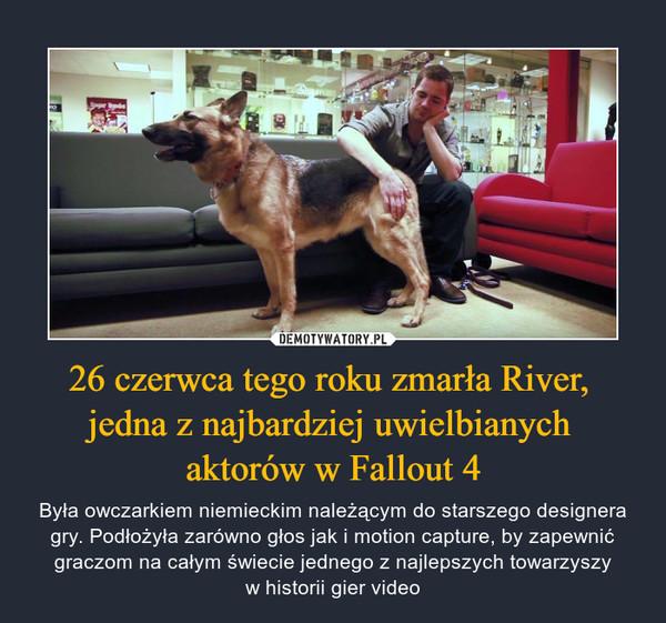 26 czerwca tego roku zmarła River, jedna z najbardziej uwielbianych aktorów w Fallout 4 – Była owczarkiem niemieckim należącym do starszego designera gry. Podłożyła zarówno głos jak i motion capture, by zapewnić graczom na całym świecie jednego z najlepszych towarzyszyw historii gier video