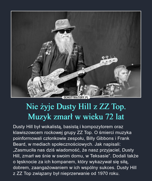 Nie żyje Dusty Hill z ZZ Top. Muzyk zmarł w wieku 72 lat