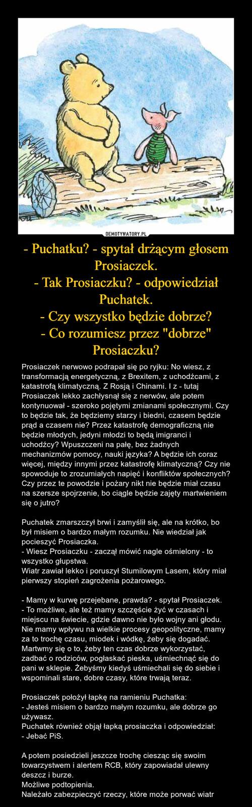 """- Puchatku? - spytał drżącym głosem Prosiaczek. - Tak Prosiaczku? - odpowiedział Puchatek. - Czy wszystko będzie dobrze? - Co rozumiesz przez """"dobrze"""" Prosiaczku?"""
