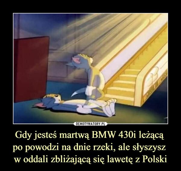 Gdy jesteś martwą BMW 430i leżącą po powodzi na dnie rzeki, ale słyszysz w oddali zbliżającą się lawetę z Polski –