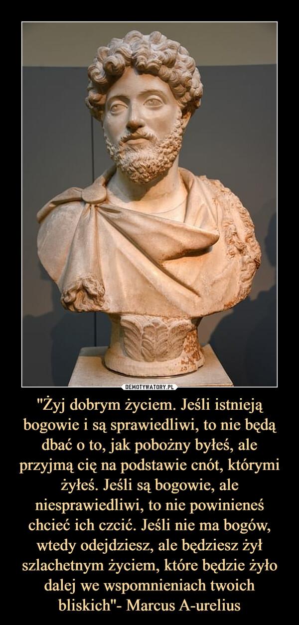 ''Żyj dobrym życiem. Jeśli istnieją bogowie i są sprawiedliwi, to nie będą dbać o to, jak pobożny byłeś, ale przyjmą cię na podstawie cnót, którymi żyłeś. Jeśli są bogowie, ale niesprawiedliwi, to nie powinieneś chcieć ich czcić. Jeśli nie ma bogów, wtedy odejdziesz, ale będziesz żył szlachetnym życiem, które będzie żyło dalej we wspomnieniach twoich bliskich''- Marcus A-urelius –