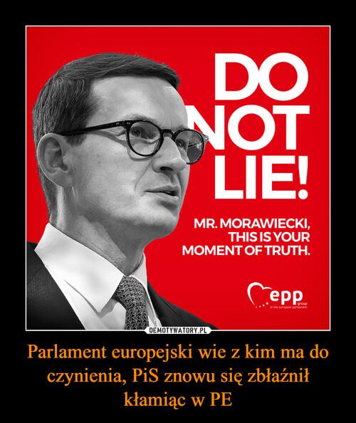 Parlament europejski wie z kim ma do czynienia, PiS znowu się zbłaźnił kłamiąc w PE